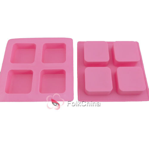 Silicone 4 Cube/Square Wedding Cake Baking Bakeware Mould Mold Chocolate Soap