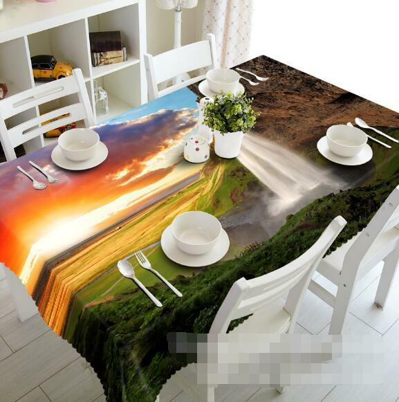 3D Falls Sunset 2 Tablecloth Table Cover Cloth Birthday Party Event AJ WALLPAPER