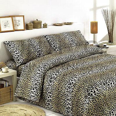 Capace Completo Lenzuola Maculato Leopardato Matrimoniale 100% Cotone Made In Italy Colori Fantasiosi