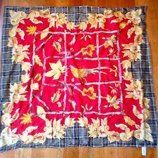 "Talbots hunt printed red gold Scarf 100% cotton pheasant oak leaf acorn 34""x34"""