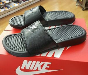 best sneakers 4f4f0 30928 Image is loading NIKE-BENASSI-JDI-SLIDE-343880-001-BLACK-BLACK-