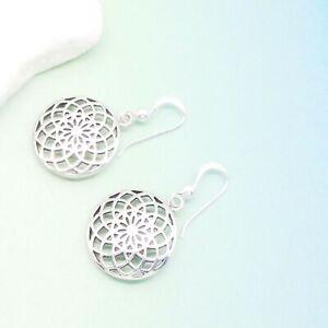 Blume-des-Lebens-Bluete-Hippie-Design-Ohrringe-Ohrhaenger-925-Sterling-Silber-neu