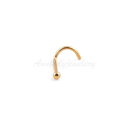 1 pc 20G Screws Nose Ring Twist Titanium Anodized Steel Nostril Piercings Stud