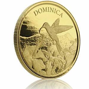 2020 1 oz Dominica Hummingbird .9999 Gold Coin BU in Certi-Lock #A462