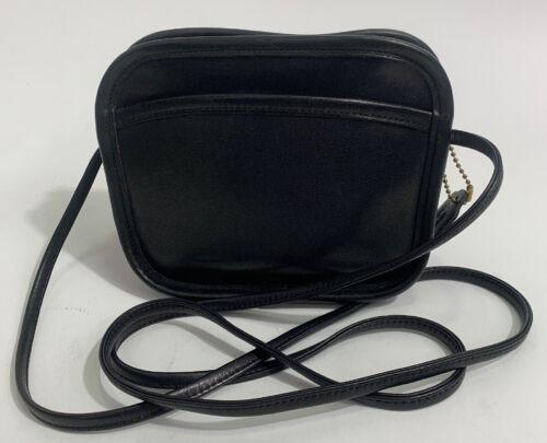 coach mini crossbody Vintage 80's Black Leather Ha