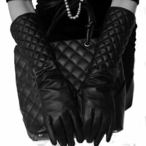 ef4079e1b291 Leather Gloves 40CM Length Adult Women Long Warm New Winter Fashion ...