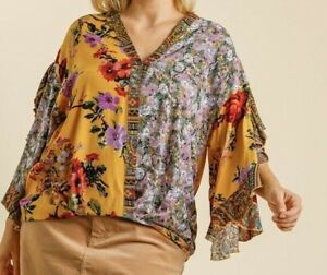 New-Umgee-Top-2X-Goldenrod-Mixed-Floral-Scallop-Sleeve-Boho-Peasant-Plus-Size