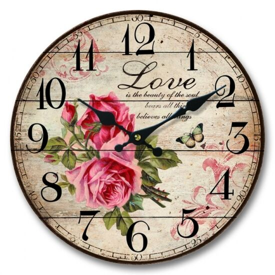Inspirational French Provincial Paris ~ LOVE ~ Shabby Pink Rose Mdf Wall Clock