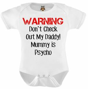 845a26bbdb9a Details about Personalised Baby Vest Bodysuit Funny Warning Mummy Is Psycho  Funny Baby Gifts
