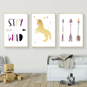 Image Is Loading Unicorn Arrow Wall Art Canvas Poster Nursery Quote