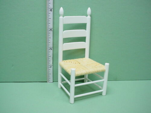 Dollhouse Miniature Shaker Side Chair White Handley #CLA00554-1//12th Scale
