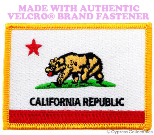 CALIFORNIA STATE FLAG PATCH EMBROIDERED CA APPLIQUE w// VELCRO® Brand Fastener