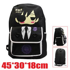 Japan Anime Kuroshitsuji Black Canvas Backpack Schoolbag Travel Bag Back Pack