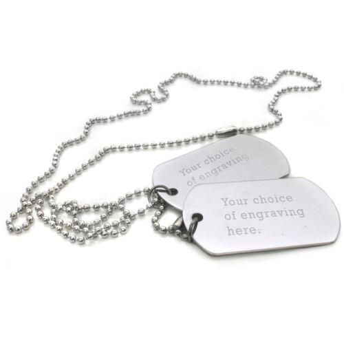 Men/'s Personalizado grabado etiquetas de perro collar de acero Texto Ejército Militar Etiqueta de Regalo