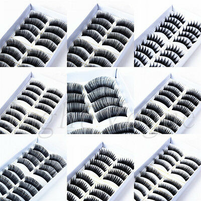 10 Pairs Handmade Natural Long Cross Thick False Eyelashes Fake Eye Lashes New a