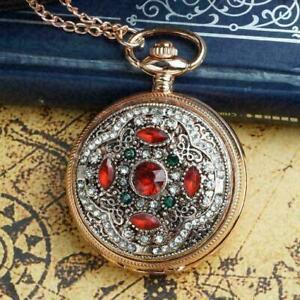 Vintage-Rose-Gold-Crystal-Retro-Pocket-Watch-Quartz-Necklace-Antique-Pendan-D4R9