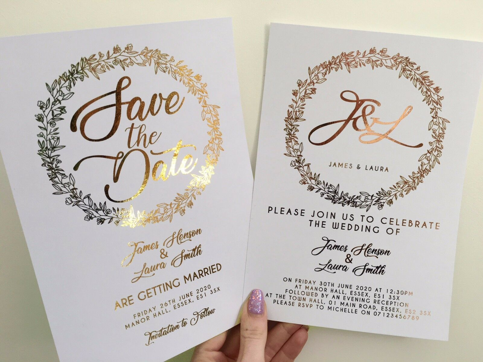 Or/Or Rose the Feuille Personnalisé Mariage Invitations Save the Rose Date invite e91ea2