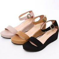 BN Ankle Strap Low Wedge Platform Strappy Instant Chic Gladiator Sandals 4 Color