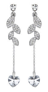 Clip On Earrings - Silver Plated Crystal Leaf Earring With A Blue Heart - Bliss by Bello London eUa3A