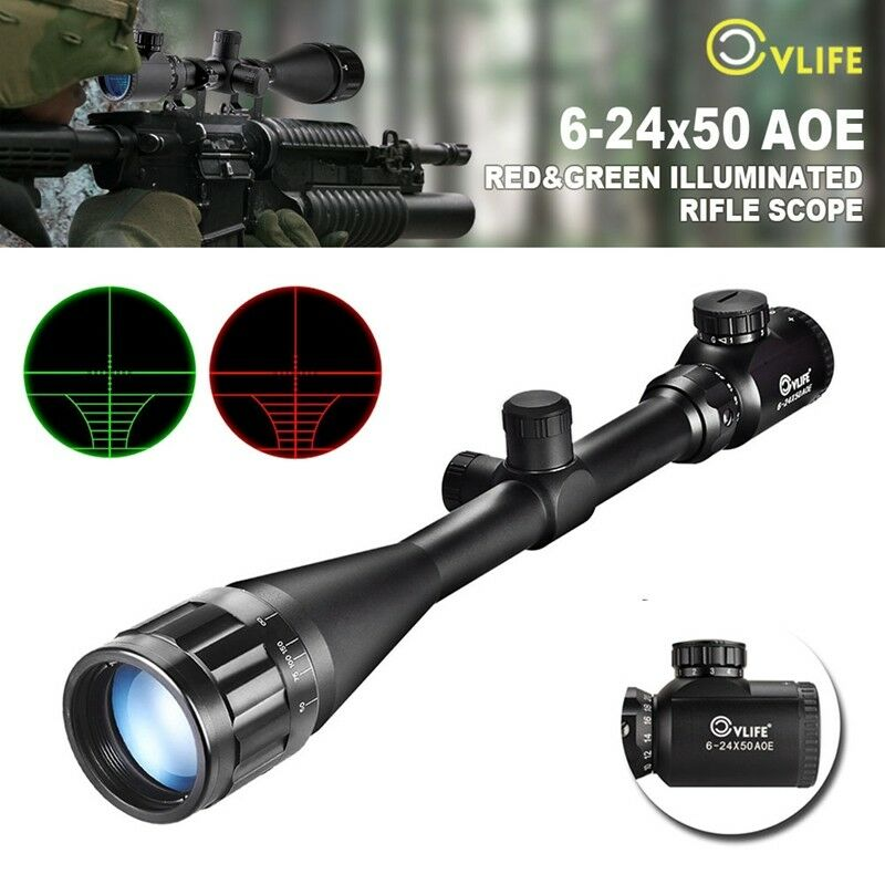 CVLIFE Optics Hunting Rifle Scope 6-24x50 AOE Red & Green Crosshair Gun Scopes