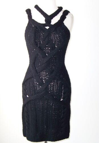 zwarte kasjmier Jen Kao trui S kabel gebreide jurk 5gwZq7x