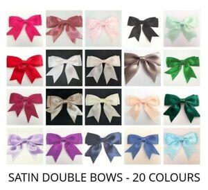 Beige//Tan-LARGE 25 mm Ruban Satin prêts Craft Double Bows-Pack de 5