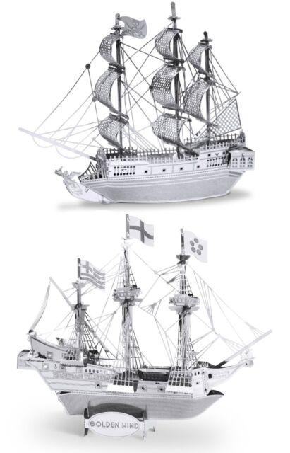 Metal Earth 3D Laser Cut Models Black Pearl Ship AND Golden Hind Ship SET OF 2