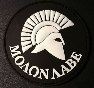 SPARTAN-MOLON-LABE-US-ARMY-USA-ISAF-MORALE-MILSPEC-SWAT-PVC-GITD-HOOK-PATCH