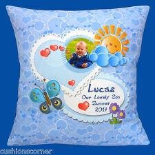 "PERSONALISED Photo Nursery Baby Room Heart  Blue Name 16"" Pillow Cushion Cover"