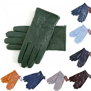 Lady-Women-039-s-Winter-Warm-Genuine-Lambskin-Leather-Driving-Soft-Lining-Gloves