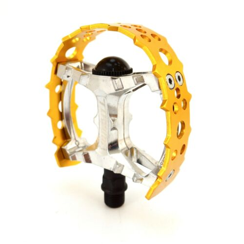 "Tipsum Odyssey Bear Trap 9//16/"" 1//2/"" BMX Sharp Pin Pedal fit 3 Piece Crank Gold"