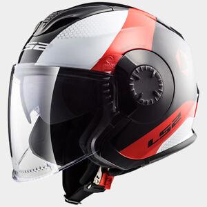 Casco-helmet-jet-LS2-VERSO-TECHNIK-BIANCO-NERO-ROSSO-WHITE-BLACK-RED-KPA-M-L
