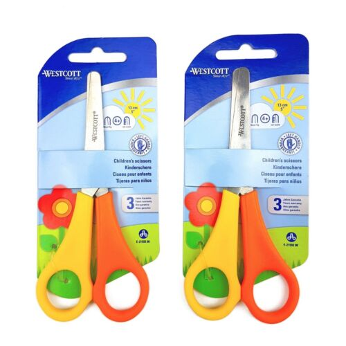 2 x Children's Kid's Left Handed Scissors with Ruler Edge Westcott Branded