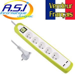 Bloc Multiprises 5 Prises + 2 USB prise multiple 2M vert VENDEUR FRANCAIS