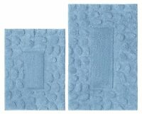2 Piece Bathroom Rug Set Blue Pebble Washable 100% Cotton Non Skid Backing