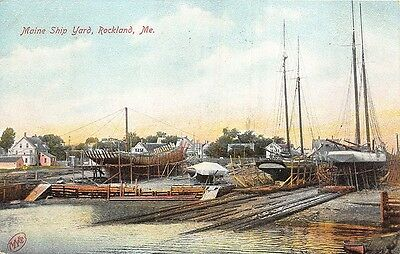 Rockland ME Maine Ship Yard Schooners Postcard