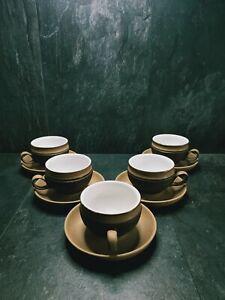 Vintage Retro década de 1970 Denby Cotswold 5 x tazas y platillos de Té Floral Marrón