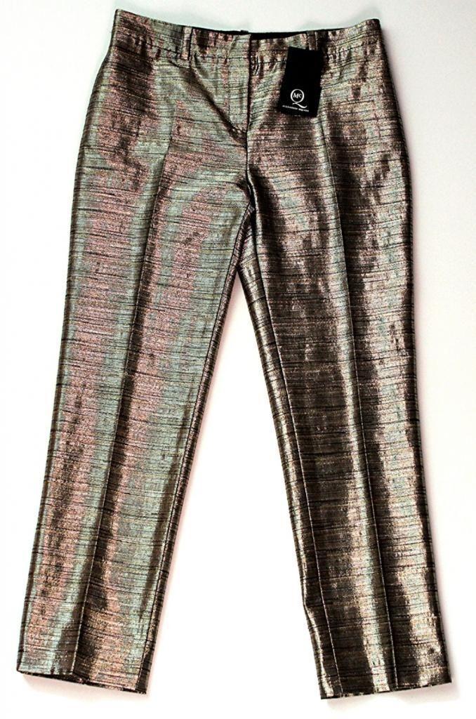 McQ by ALEXANDER McQUEEN Dress METALLIC Evening PANTS Trousers 40  600