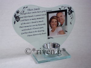 Inspirational poem Their Smile candle and photo holder glass memorial plaque