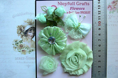 SKY BLUE /& ORCHID Floral Fabric Organza 3 Flowers 60mm Njoyfull Crafts D1