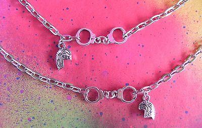2 Bracelets Handcuff Partners In Crime Best Friend Split Heart Friendship Set