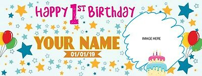 "Personalized Happy 1st Birthday Banner with Photo Text Design Background 18/""x4/'"