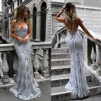 Maxikleid V-Ausschnitt rückenfrei Pailletten Abendkleid Etuikleid Kleid BC507