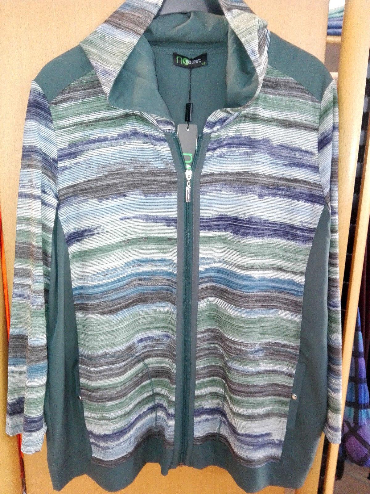 No Secret modisches Damen Shirt Jacke grün bunt Gr. 52 junge Mode große Größen