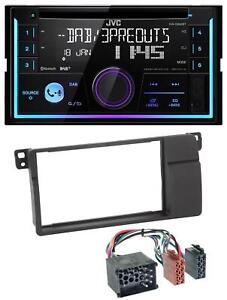 JVC-Bluetooth-DAB-CD-MP3-2DIN-USB-Autoradio-fuer-BMW-3er-E46-Rundpin-grossem-Navi
