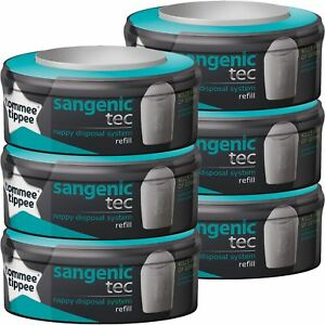6-Tommee-Tippee-Sangenic-Tec-Nappy-Bin-Disposal-System-Cassette-Refill-Cartridge