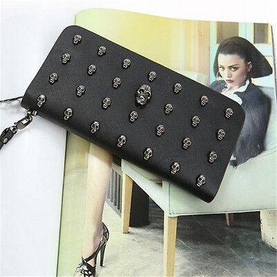 New Fashion Punk Skull Women Wallet Clutch Leather Purse Card Bag Zipper Handbag