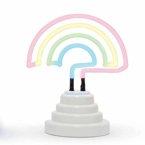 Rainbow Neon Light Bright Lamp Colourful Retro rainbow Motif Shape USB Battery