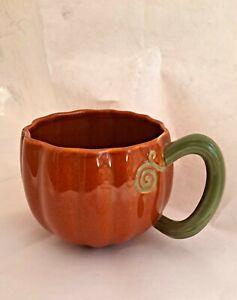 Starbucks Mug Pumpkin with Vine Handle Coffee Cup Orange Green 13fl oz / 384ml