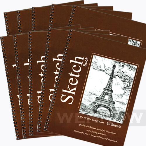 10 Pcs 30 Sheets 8.5 X 11 Side Bound Spiral Premium Sketch Book